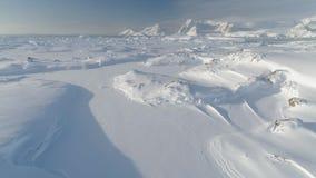 Opinión majestuosa aérea del abejón del paisaje de la Antártida almacen de video