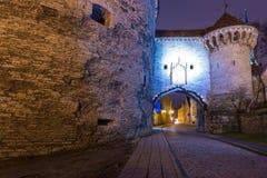 Opinión Margaret Tower gorda en Tallinn en la noche Foto de archivo libre de regalías