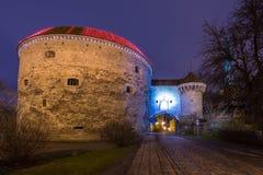 Opinión Margaret Tower gorda en Tallinn en la noche Fotografía de archivo