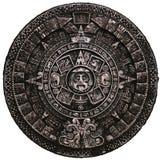 Opinión maya de piedra completa del frnt del calendario Imágenes de archivo libres de regalías