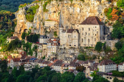Opinión medieval del detalle de la aldea de Rocamadour Fotografía de archivo libre de regalías