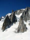Opinión Monte Bianco de las montañas de las montañas Foto de archivo