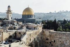 Opinión occidental de la pared de Jerusalén, mezquita del al-Aqsa Foto de archivo libre de regalías