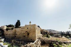 Opinión occidental de la pared de Jerusalén, mezquita del al-Aqsa Fotografía de archivo