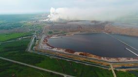 Opinión ofIndustrial de la visión aérea en la zona de la industria de la forma de la planta de la refinería de petróleo Cosechado metrajes