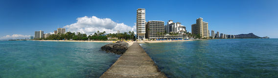 Opinión panorámica COMPLETA Hawaii de Waikiki Fotografía de archivo
