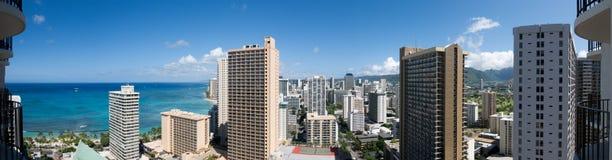 Opinión panorámica de 180 grados de la playa de Waikiki, Hawaii Imágenes de archivo libres de regalías