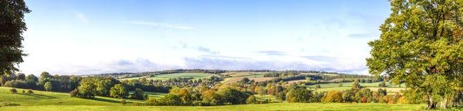 Opinión panorámica de Cotswold, Gloucestershire, Inglaterra Imagen de archivo
