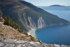 Opinión panorámica de la playa de Myrthos Imagenes de archivo
