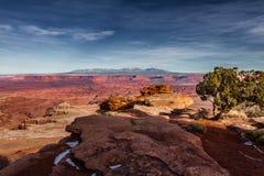 Opinión panorámica de los winter's tempranos excepcionales del parque nacional de Canyonlands en Utah foto de archivo libre de regalías