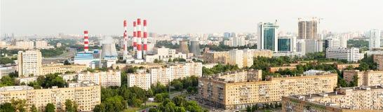 Opinión panorámica de Moscú desde arriba, avenidas, área residencial, prisionero de guerra fotografía de archivo