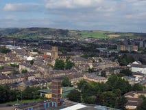 Opinión panorámica del ariel de la ciudad de Halifax en West Yorkshire foto de archivo libre de regalías