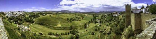 Opinión panorámica del paisaje de Ronda Fotos de archivo