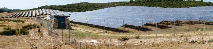 Opinión panorámica del panel solar Fotografía de archivo