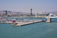 Opinión panorámica del puerto de Barcelona Imagen de archivo