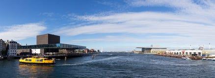 Opinión panorámica del puerto de Copenhague foto de archivo libre de regalías