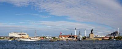 Opinión panorámica del puerto de Copenhague imagen de archivo
