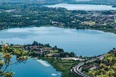 Opinión panorámica Monte Barro 3 lagos Foto de archivo