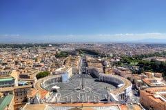 Opinión panorámica sobre el cuadrado de St Peters. Roma (Roma), Italia Imagen de archivo
