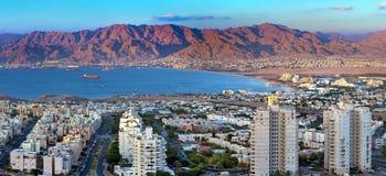 Opinión panorámica sobre el golfo de Aqaba, Eilat, Israel Fotografía de archivo libre de regalías