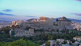 Opinión panorámica sobre la acrópolis de Atenas, Grecia almacen de video
