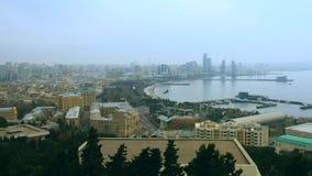 Opinión panorámica sobre la bahía de Baku, Azerbaijan metrajes