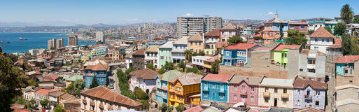 Opinión panorámica sobre Valparaiso imagen de archivo libre de regalías