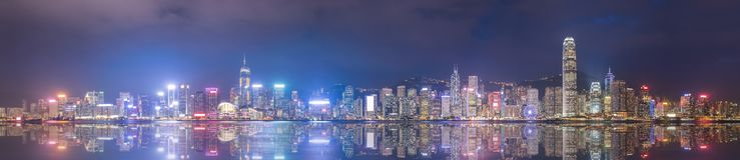 Opinión panorámica Victoria Harbour en Hong Kong Fotografía de archivo libre de regalías