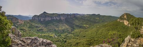 Opinión panoramatic de Cerdeña Ulassai fotografía de archivo
