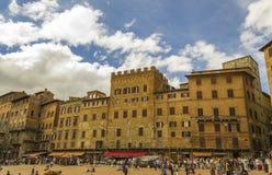 Opinión Piazza del Campo en Siena Tuscany, Italia Fotografía de archivo