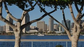 Opinión pintoresca San Diego Skyline del parque centenario en la isla de Coronado almacen de metraje de vídeo