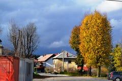 Opinión Pivka Postojna, región del pueblo de Prestranek Eslovenia de Ljubljana Notranjska fotografía de archivo libre de regalías