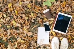 Opinión plana de la endecha de las hojas de otoño, de la tableta, del teléfono y de la taza de papel de coffe Desde arriba con de Imagen de archivo
