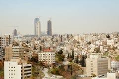 Opinión por la mañana, Jordania del horizonte de Amman Fotos de archivo libres de regalías