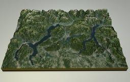 Opinión por satélite del lago Maggiore, del lago Como y de Lecco, Italia Fotos de archivo libres de regalías