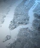 Opinión por satélite del mapa de New York City Foto de archivo