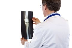 Opinión posterior el doctor que estudia la radiografía de la junta de rodilla Fotografía de archivo