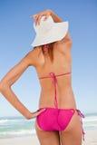 Opinión posterior un adolescente atractivo en el beachwear que sostiene sombrero de paja Imagen de archivo libre de regalías