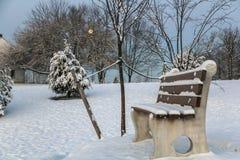 Opinión que ajardina de la nieve Imágenes de archivo libres de regalías