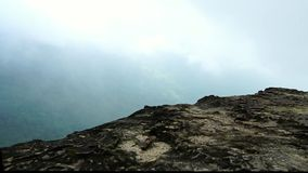 Opinión que camina sobre el acantilado de la roca al top de la montaña después de la lluvia Ecosistema tropical hermoso del bosqu almacen de metraje de vídeo