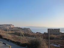 Opinión romántica de Santorini Imagen de archivo libre de regalías
