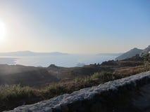Opinión romántica de Santorini Fotos de archivo libres de regalías