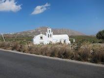 Opinión romántica de Santorini Fotografía de archivo