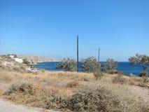 Opinión romántica de Santorini Imagenes de archivo