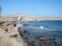 Opinión romántica de Santorini Foto de archivo libre de regalías