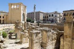 Opinión Roman Amphitheatre en Lecce, Italia Imagen de archivo libre de regalías
