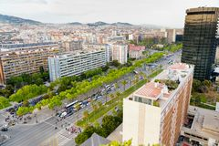 Opinión sobre diagonal de la avenida en Barcelona Foto de archivo libre de regalías