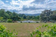 Opinión sobre el campo, jardín de Bodnant, País de Gales fotos de archivo libres de regalías
