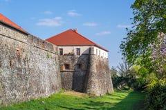 Opinión sobre el castillo de Uzhhorod en Ucrania Foto de archivo libre de regalías
