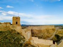 Opinión sobre el castillo Sagunto durante día soleado y puesta del sol nublada Fotografía de archivo libre de regalías